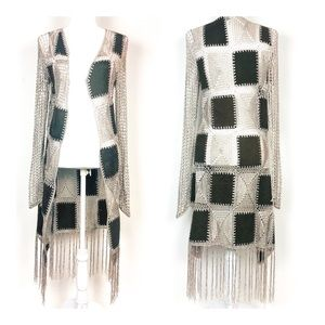 BKE Crochet Patchwork Fringed Duster Cardigan S